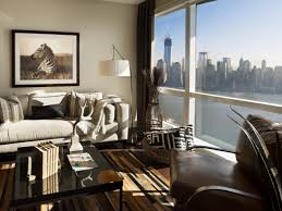 Apartment living room with a view of the city