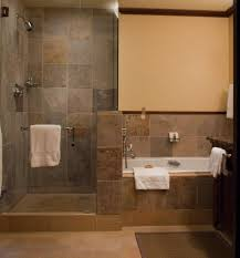 Neat Doorless Open Shower Idea And Rustic Wall Then Tiles Plus Alcove  Bathtub With Bathroom Small