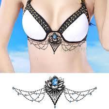 водостойкая временная татуировка стикер кристалл алмаз лотос на талии грудь