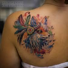 татуировки лиса индеец в стиле цветная женские лопатки каталог