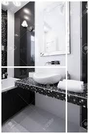 Innenansicht Der Schwarz Weiß Modernes Badezimmer Lizenzfreie Fotos