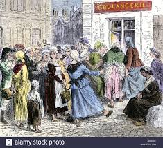 crowd of angry women at the door of a bakery during the french  crowd of angry women at the door of a bakery during the french revolution