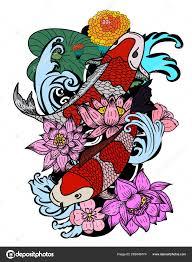 Koi Fish Design Beautiful Line Art Koi Carp Tattoo Design Colorful Koi Fish