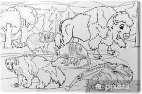 Canvas Zoogdieren Dieren Cartoon Kleurplaat