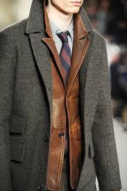 notch lapel brown leather jacket tweed coat men style