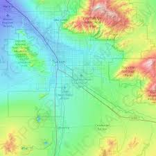 Tucson Elevation Chart Tucson Topographic Map Relief Map Elevations Map