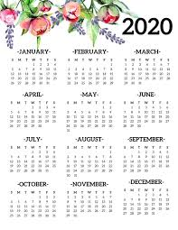 Free Printable 2020 Calendar Yearly One Page Floral Paper