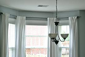 Amusing Curtain Rods For Bay Windows With White Drapes Beautiful Home  Decorating Ideas