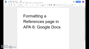 Apa Coverpage Format Google Docs Formatting A References Page In Apa 6th Edition Current For 2018 2019