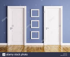 Interior of a room with two classic doors and frames Stock Photo ...