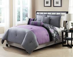 elegant full size bed frame with reversible gray and purple bed comforter fabulous gray and