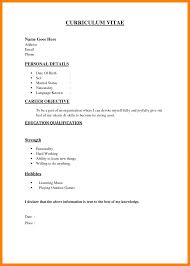 How To Write Simple Resume Sample Examples With Outline Curriculum