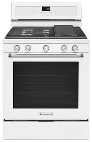 kitchenaid 30 inch 5 burner gas convection range white