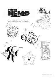 esl finding nemo worksheets finding nemo for kinder