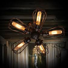 industrial style wire cage 5 light metal semi flush mount ceiling light in black finish semi flush mount ceiling lights lighting homary ca