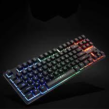 Kolay kullanım mekanik klavye oyunu temizle USB aksesuarları kablolu  masaüstü arkadan aydınlatmalı Anti Fade 87 tuşları ev ergonomik|Klavyeler