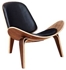 shell leather walnut mid century modern chair black