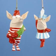 Club Pack of 12 Olivia the Pig Band Leader Boy and Girl Christmas Ornaments  3.5