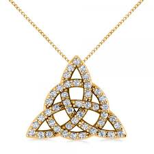 diamond trinity celtic knot pendant necklace 14k yellow gold 0 45ct