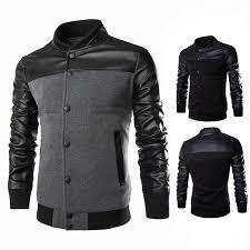 men s pu leather slim fit casual jacket baseball coat slim outwear overcoat