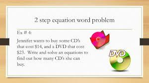 2 step equation word problem