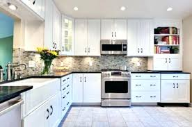 Black Granite Countertops With Tile Backsplash Magnificent White Cabinets Granite Countertops Kitchen Marvelous White Cabinets
