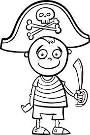 Jongen In Piraat Kostuum Kleurplaat Vector Premium Download