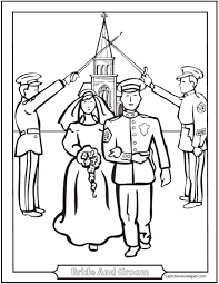 Marriage Coloring Page Couple Military Salute Church