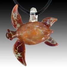 large caramel sea turtle pendant hand blown glass