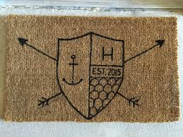 My DIY of the day. Family crest doormat. Simple to make with a $12 ...