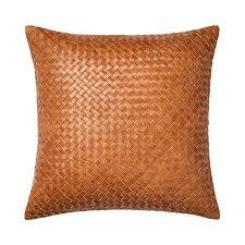home republic amalfi tan leather cushion