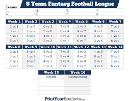 8 Team League Schedule Generator Printable 8 Team Fantasy Football League Schedule