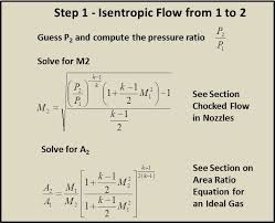 nozzle exit the computed exit pressure must be compared to the given pressure to determine if the guess for p2 was correct these equations can be