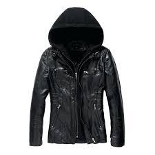 womens hooded faux leather jacket coats women coat hoo black las ll uk