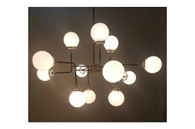 bistro globe glass ball industrial inspired chandelier ceiling light with 12 milk glass photo 1