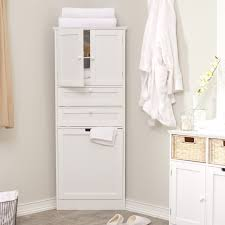 Small Bathroom High White Wooden Wall Cabinet With Four Shelves