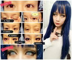 female makeup tutorial using eyelid tape