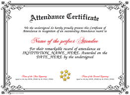 Attendance Award Template Pin By Cookie On Certificates Attendance Certificate