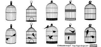 鳥かごのイラスト シルエットデザイン