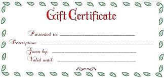 Custom Gift Certificate Templates Free Personalized Gift Certificate Template