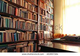 Old bookshelf in library
