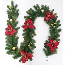 Home Depot Lighted Garland Home Accents Holiday 9 Ft Pre Lit Led Glittered Poinsettia Artificial Christmas Garland With 35 Lights