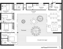 Plan De Maison En U 4 Chambres