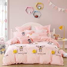 light pink gold black and brown snail mouse star owl penguin print abstract animal themed girls twin full queen size bedding sets