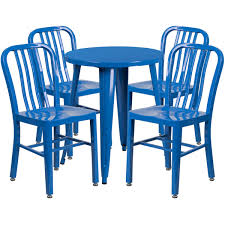 24 round blue metal indoor outdoor table set with 4 vertical slat back