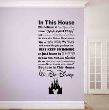 enjoyable inspiration ideas disney wall decor home in this house we do decal signs zoom stickers es target plaque