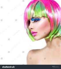 Beauty Fashion Model Girl Colorful Dyed Stock Photo Edit Now