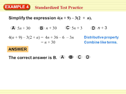 1 standardized test practice example 4 answer