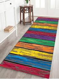 colorful wooden board print flannel skidproof area mat