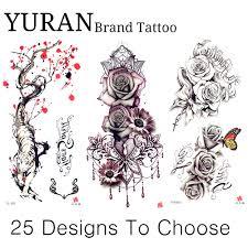 4564 руб 8 скидкакрасная слива временная татуировка эскиз яркая сексуальная роза